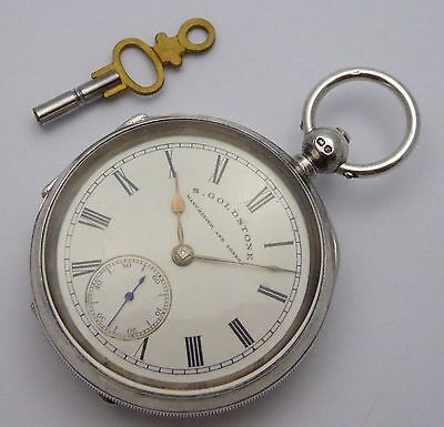 Antique 1897 Hallmarked Sterling Silver Dial S Goldstone Pocket Watch LAYBY AVA