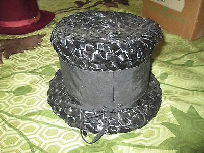Vintage Black Plastic Weaved Town Topper Hat Top Hat 6 1/2""