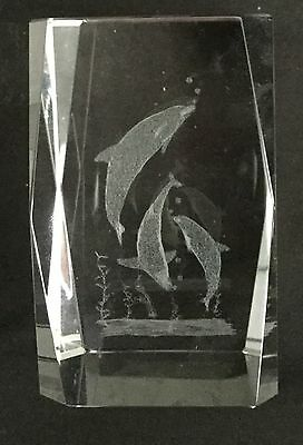 Dolphin 3-D Laser Etched Solid Crystal Cube,