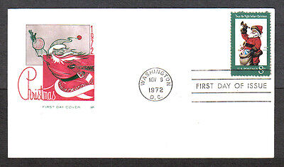 Us Fdc 1972 Christmas 8C Stamp Hf Cachet First Day Of Issue Cover