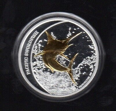 2011 Fiji Two Dollars Pacific Swordfish 1 Oz Gold Plated Silver Proof Coin !!!