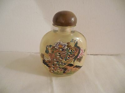 "Vintage Antique Glass Peacocks & Pheasants Reverse Painted Snuff Bottle 3"" x 2.5"