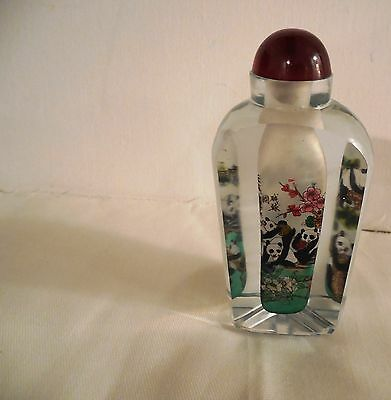 Vtg Antique Glass Pandas Floral Reverse Painted Triangular Snuff Bottle 4 x 1.5""