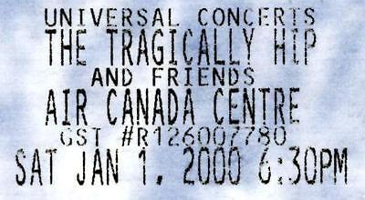 The Tragically Hip Ticket Stub 2000 New Years Day at Air Canada Ctr. Toronto