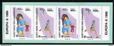 0158 Cyprus Turkish Europa Cept 1989 band of booklet no carton MNH
