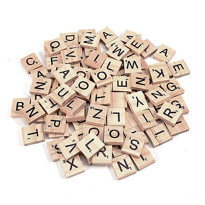 100 Wood Scrabble Tiles Wooden Black Letters Board Crafts Genuine Uk New