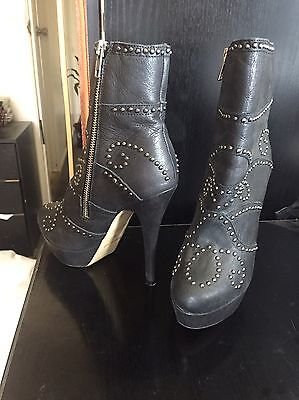 Tony Bianco Boots Size 6 Leather Black Studded