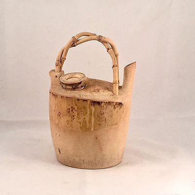 RARE Chinese Earthenware Bamboo Teapot With Interweave Handle