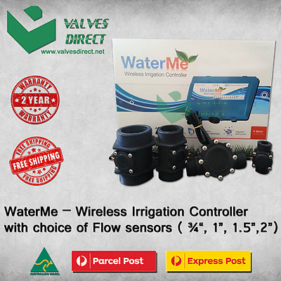 "WaterMe-Wireless Irrigation Controller + Choice of Flow Sensor(3/4"",1"",1.5"",2"")"