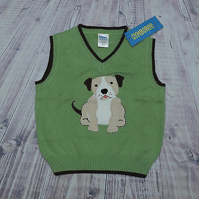 New GYMBOREE Boys VEST SIZE 18-24M GREEN BROWN  PUPPY SPRING