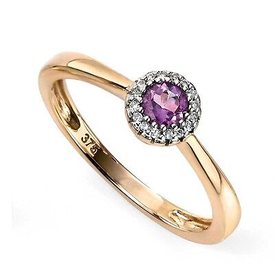 9ct Yellow Gold Ring Diamond Amethyst Cluster Gold Ring GR473M