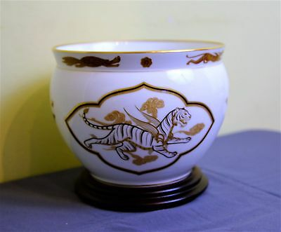 Large Okura Bowl on Stand. Jardiniere of the White Tiger. Franklin Porcelain.