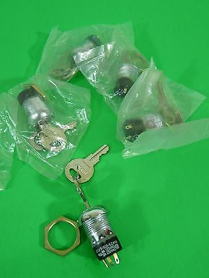 5) ECI/T-502-ILC211 Panel Mount Electrical Key Switches w/3 Terminals & Locknut