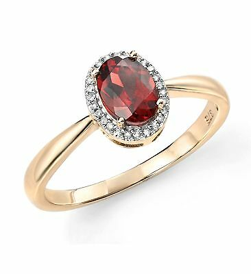 9ct Yellow Gold And Diamond Garnet Cluster Ring GR515R