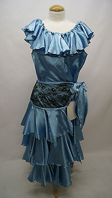 Blue and Black Lace Latin Style Dancers outfit