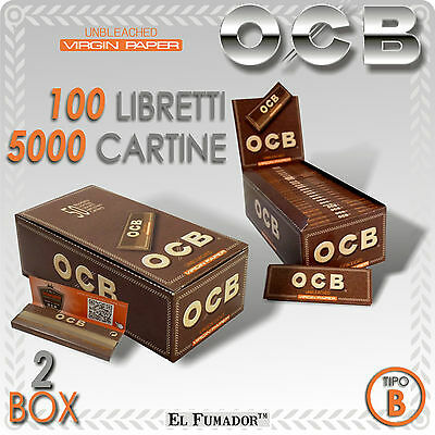 5000 CARTINE OCB VIRGIN BROWN CORTE - 100 Libretti - NON SBIANCATE SENZA CLORO