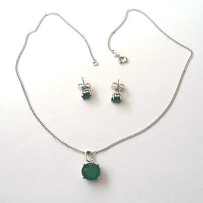 Women's Set Necklace And Earrings C. Silver With Simulated Emeralds -  68 H