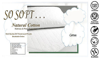 All Size Fully Fitted 100% Cotton Cover 200gsm Quilted Mattress Protector