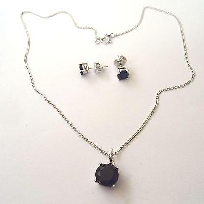 Women's Set Necklace And Earrings C. Silver With Simulated Blue Sapphires 205 M