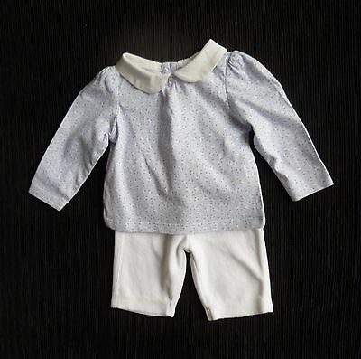 Baby clothes GIRL newborn 0-1m outfit white/blue, velour trousers/LS blouse/top