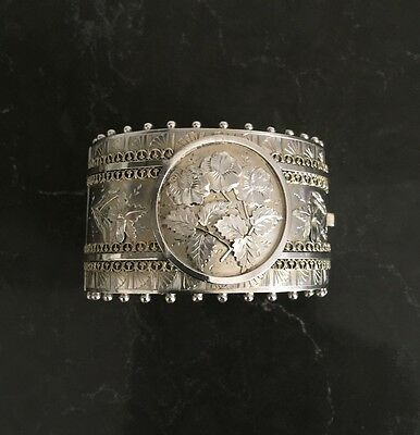Antique English Victorian Sterling Silver Wide Bangle- Chester 1882