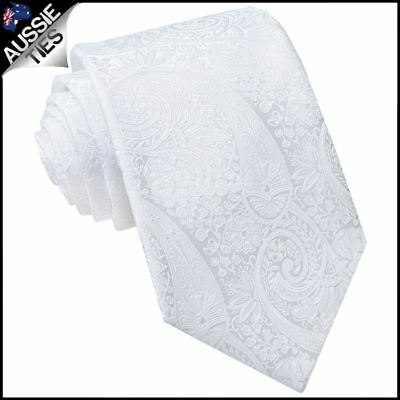 White Paisley Mens Tie Men's Patterned Tie Men's Necktie