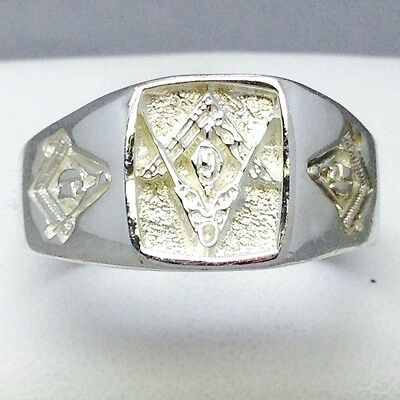 """Handmade 925 Solid Sterling Silver Top Quality Square Masonic Ring """"size W"""" 508"""