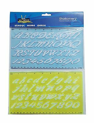 2 Pcs. Plastic Drawing Font Alphabet Stencil Letters Template Upper & Lower Case