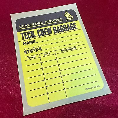 Rare Old Singapore Airlines Tech Crew Baggage Sticker