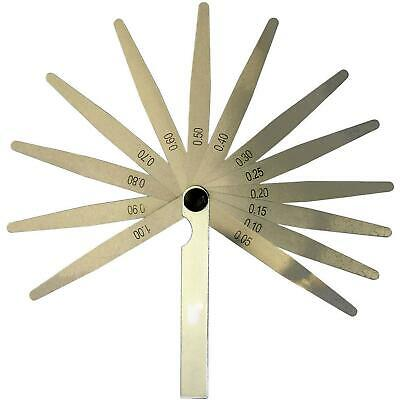 Metric 13 Blade Feeler Gauge 0.05 to 1.0mm Spark Plug Measure Gap Tool Set