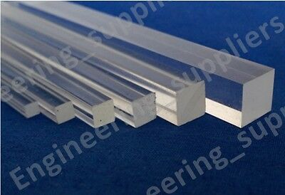 Acrylic Clear Solid Square Rod/Bar 3, 4, 5, 6, 8, 10 & 12mm, 100 to 600mm Long