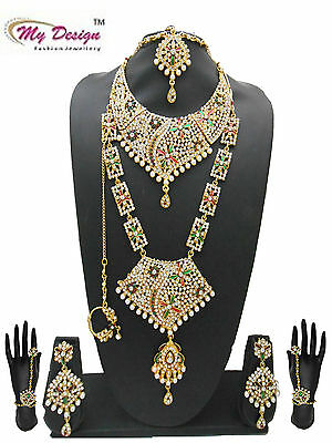 Gold Plated Indian Ethnic Bollywood Bridal Fashion Jewelry Necklace Set