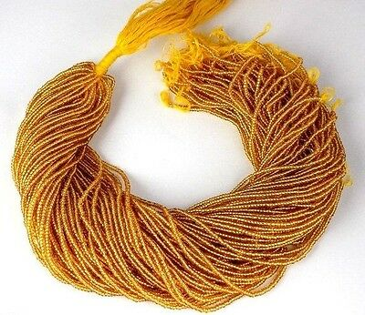 """20 Strand Gold Pyrite Hydro Seed Rondelle 2-2.5mm 12.5"""" Long Smooth Jewelry Bead"""