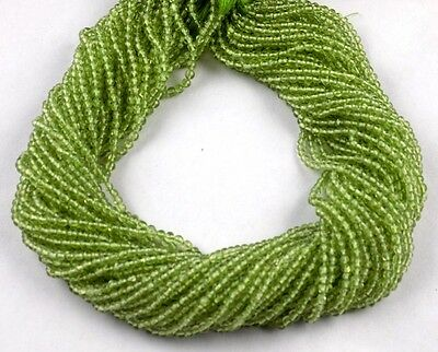 """5 Strands Natural Peridot Rondelle 3mm 13.5"""" Long Smooth Gemstone Jewelry Beads"""