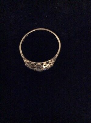 Hallmarked 375 9ct Yellow Gold 5 Stone Gypsy Ring Size:n1/2