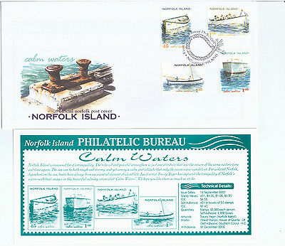 2001 Calm Waters Norfolk Island Set of 4  FDC