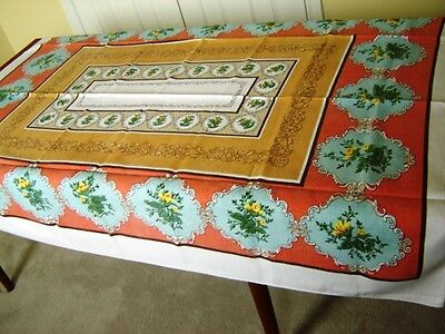 "Vintage Tablecloth 1970's ROSES  60"" x 52"" Cotton blend Yellow Southwest"