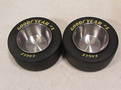 2 Pcs. Goodyear Eagle # 1  Racing Slick Tire Metal Ashtray