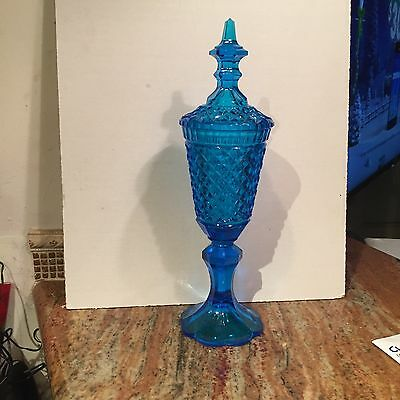 """Beautiful 15 1/2"""" Blue English Hobnail Covered Comport"""
