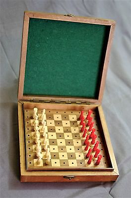 Antique Travelling Chess Set. Carved & Stained Bone Pieces in a Mahogany Case.