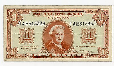 Holland. 1945 ONE GUILDER  - EF