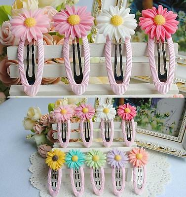 Girl Baby Toddler Infant Headband Hair Daisy Band Accessories Clip Barrette Pair