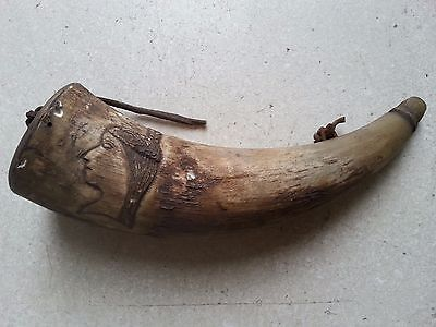 ANTIQUE Centenary Indian Head Carved Powder Horn - Indian Wars Period
