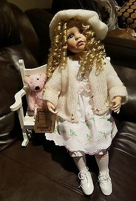 "Seymour Mann Collection Porcelain Dolls ""Madison"" Doll With Bench #ed 101/1200"
