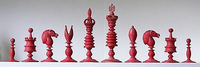 "Fine mid-19th C large English Chess Set K=113mm (4.5"")"