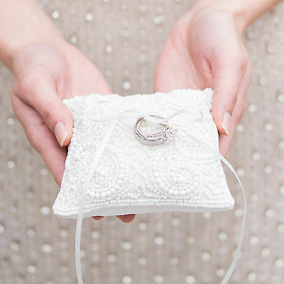 White Wedding Ring Cushion with Faux Pearl and Bead Design