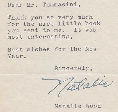 Natalie Wood Signed 1956 Letter ~ Rare Autograph From A Tragic Star