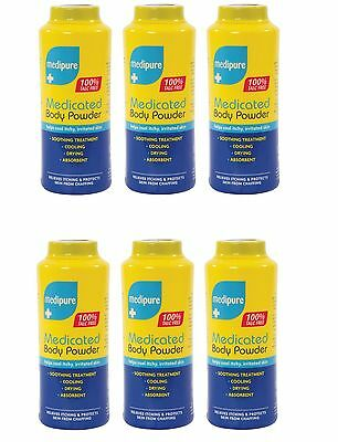 6 X 200g Medipure Medicated Body Powder 100% Talc Free Soothing Treatment Care