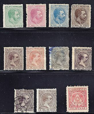 Spanish PHILIPPINES 1886-1896 - 10 Newspaper Stamps +1 PO. MH + USED