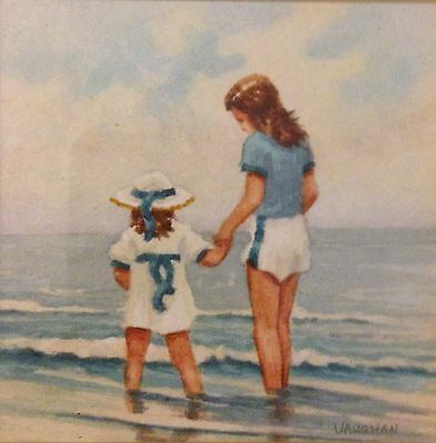 Original Irish Art Watercolour Painting Mother & Child At Beach Anthony Vaughan